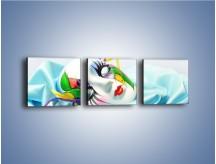 Obraz na płótnie – Kolorowa maska na błękicie – trzyczęściowy O180W1