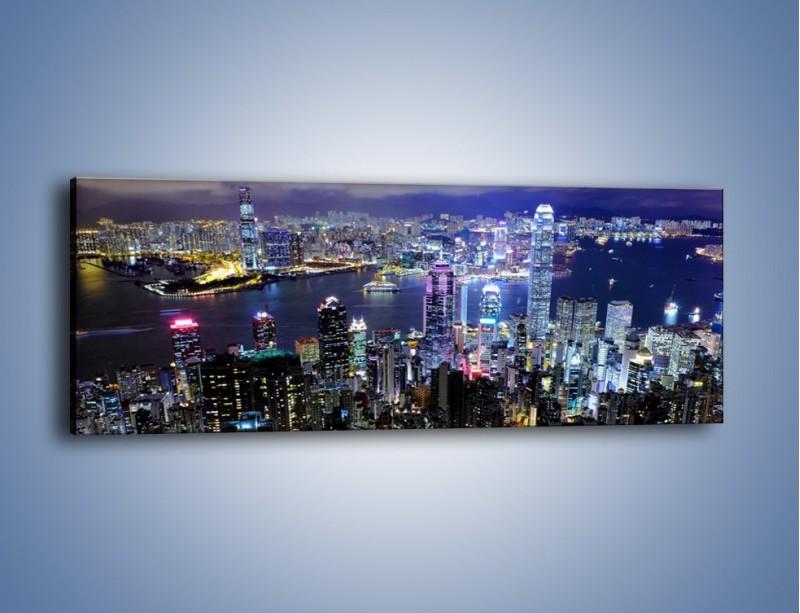 Obraz na płótnie – Nocna panorama Hong Kongu – jednoczęściowy panoramiczny AM772
