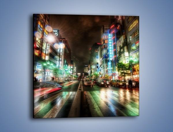 Obraz na płótnie – Tokyo nocą po deszczu – jednoczęściowy kwadratowy AM027