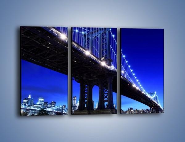 Obraz na płótnie – Oświetlony most wieczorem – trzyczęściowy AM003W2
