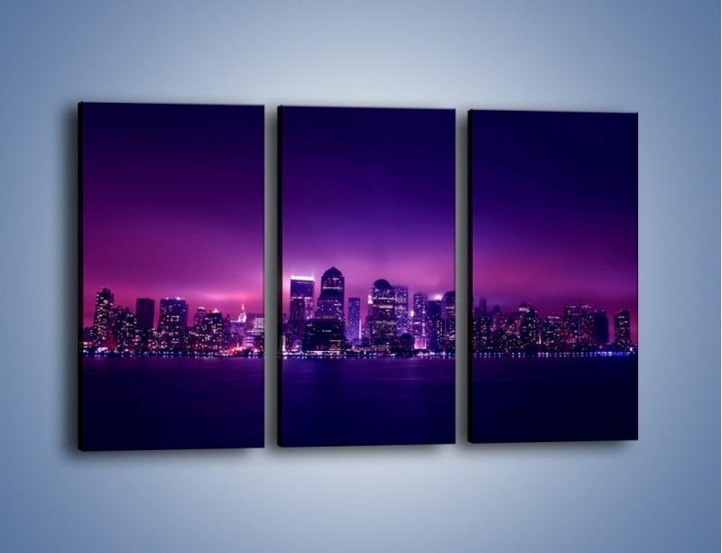 Obraz na płótnie – Wieżowce w odcieniach fioletu – trzyczęściowy AM008W2