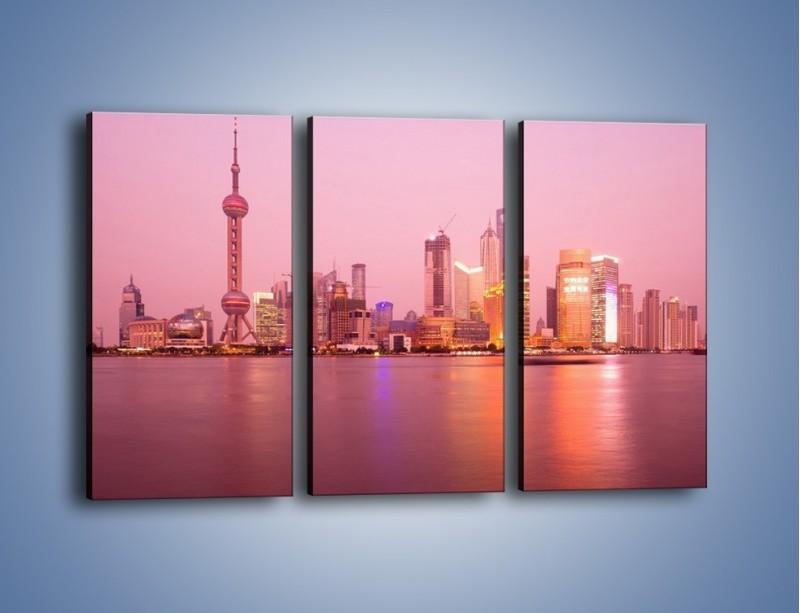 Obraz na płótnie – Miasto o poranku w odcieniach różu – trzyczęściowy AM020W2