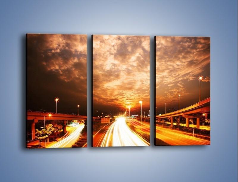Obraz na płótnie – Oświetlona autostrada w ruchu – trzyczęściowy AM021W2