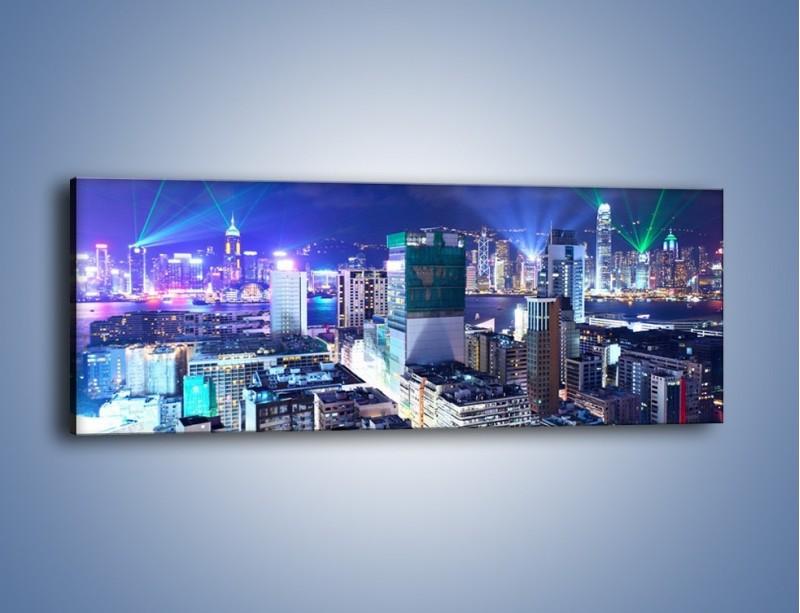 Obraz na płótnie – Pokaz laserów nad Hong Kongiem – jednoczęściowy panoramiczny AM796