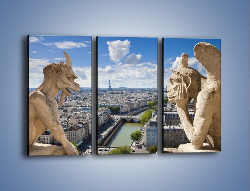Obraz na płótnie – Kamienne gargulce nad Paryżem – trzyczęściowy AM037W2