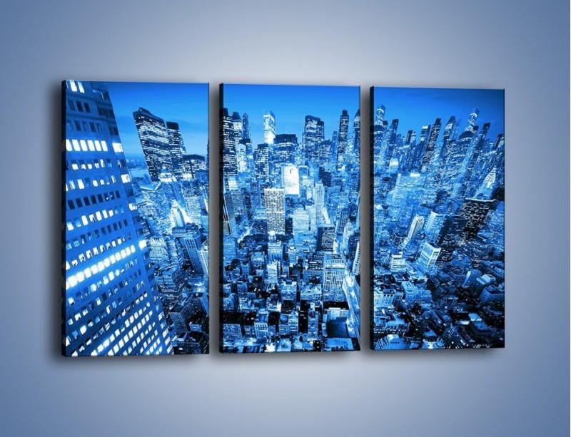 Obraz na płótnie – Centrum miasta w niebieskich kolorach – trzyczęściowy AM042W2
