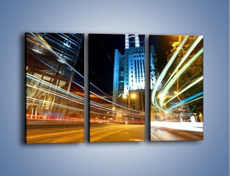 Obraz na płótnie – Światła w ruchu ulicznym – trzyczęściowy AM048W2