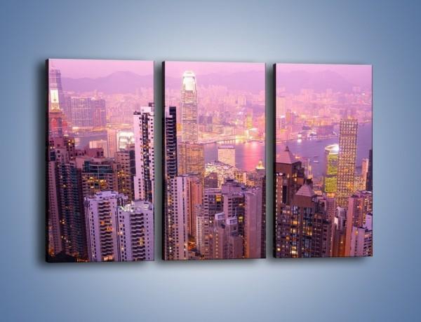 Obraz na płótnie – Duże miasto budzące się o poranku do życia – trzyczęściowy AM062W2