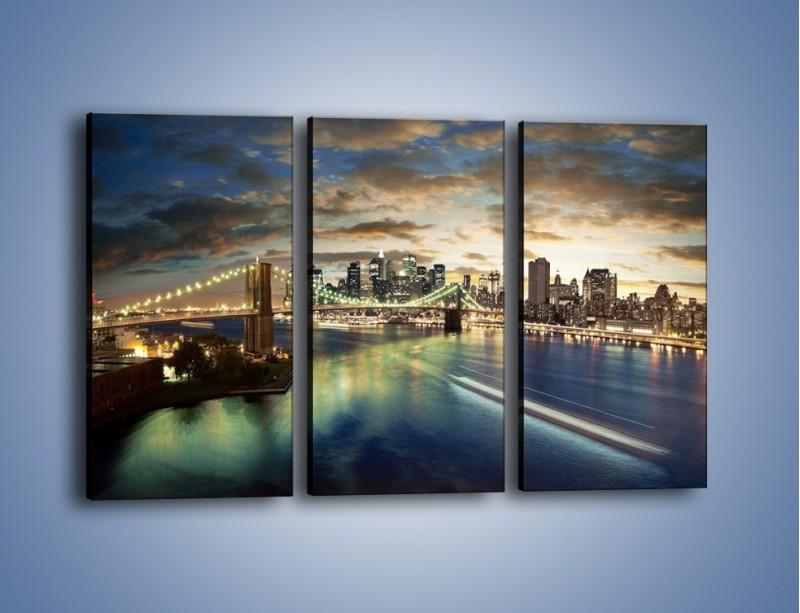 Obraz na płótnie – Oświetlony most w Nowym Jorku – trzyczęściowy AM066W2