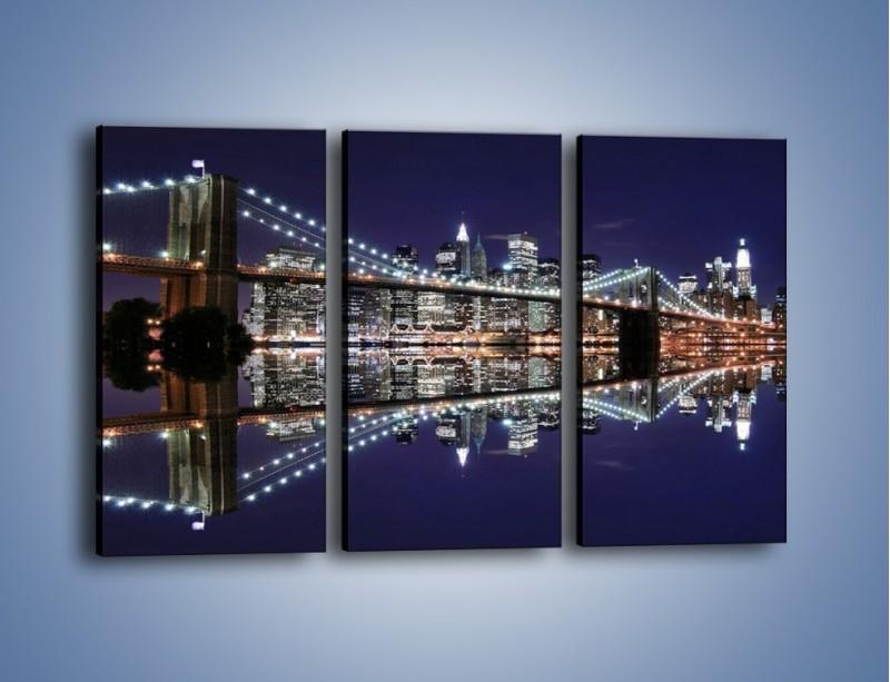 Obraz na płótnie – Most Brookliński w lustrzanym odbiciu wody – trzyczęściowy AM067W2