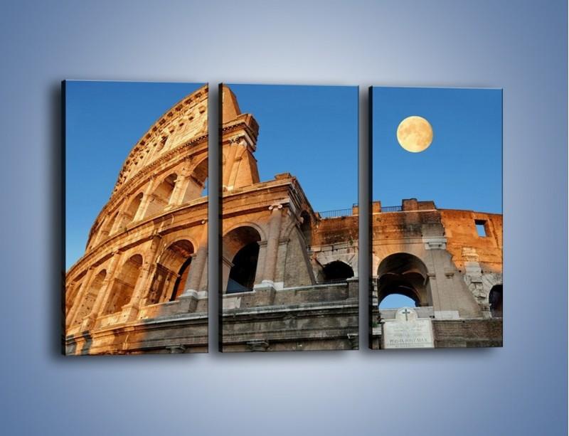 Obraz na płótnie – Pełnia księżyca nad Koloseum – trzyczęściowy AM069W2