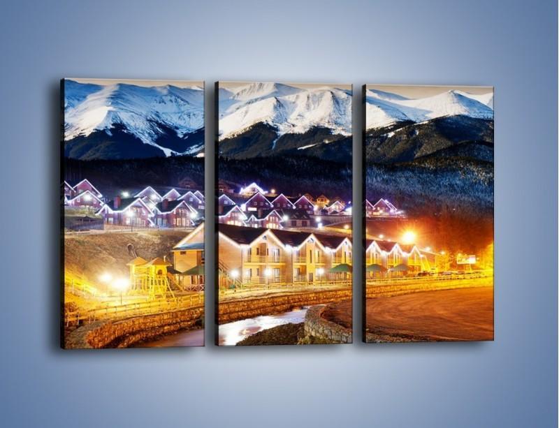 Obraz na płótnie – Oświetlone domki pod górami – trzyczęściowy AM070W2