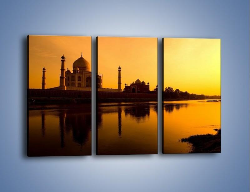 Obraz na płótnie – Taj Mahal o zachodzie słońca – trzyczęściowy AM075W2