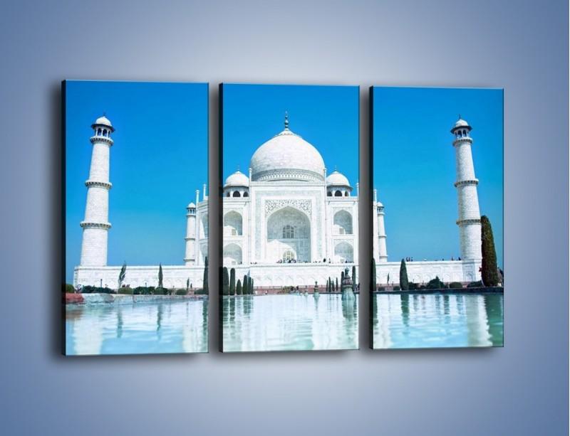 Obraz na płótnie – Taj Mahal pod błękitnym niebem – trzyczęściowy AM077W2