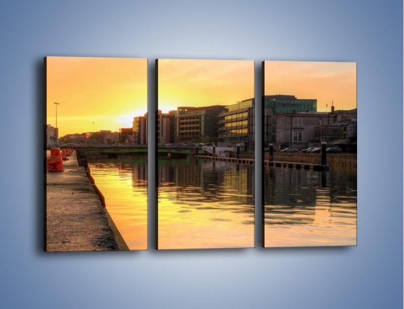 Obraz na płótnie – Kanał portowy o wschodzie słońca – trzyczęściowy AM079W2