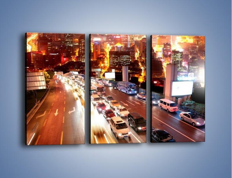 Obraz na płótnie – Wyjazd z zatłoczonego miasta – trzyczęściowy AM080W2