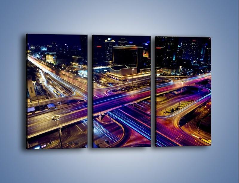Obraz na płótnie – Skrzyżowanie autostrad nocą w ruchu – trzyczęściowy AM087W2