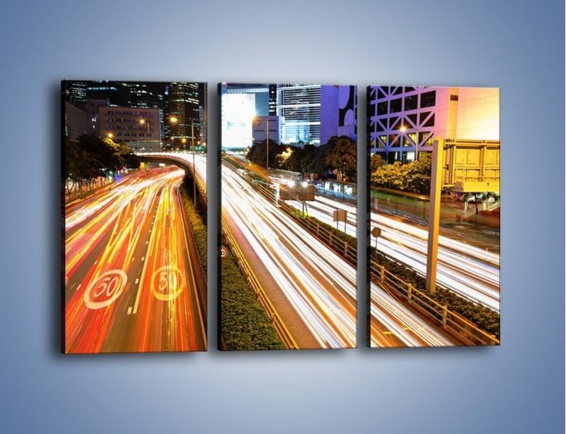 Obraz na płótnie – Ulice w ruchu w mieście – trzyczęściowy AM089W2