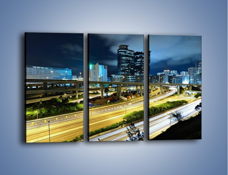 Obraz na płótnie – Przedmieście miasta wieczorem – trzyczęściowy AM091W2