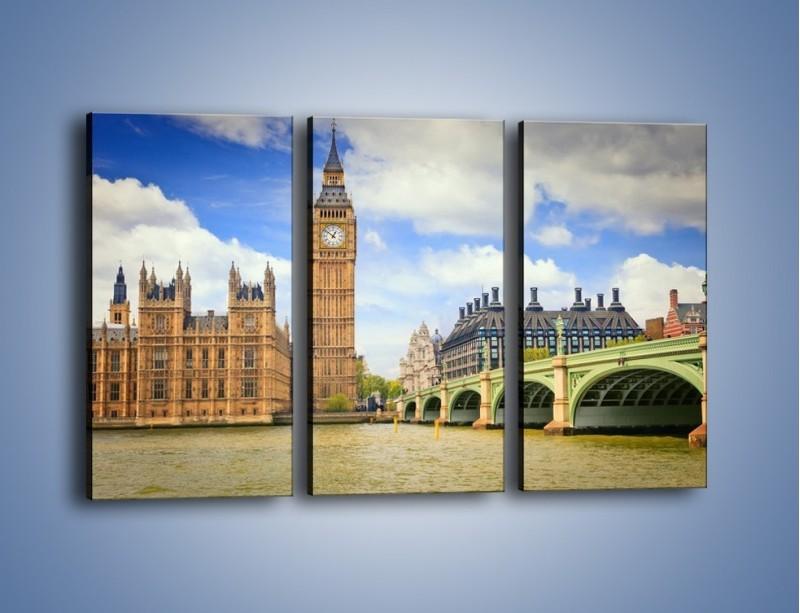 Obraz na płótnie – Big Ben w pochmurny dzień – trzyczęściowy AM095W2