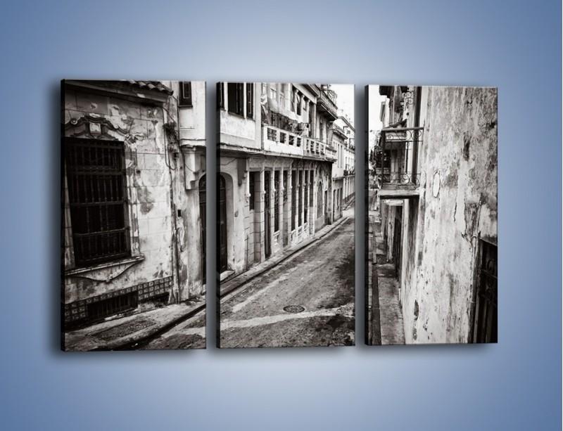 Obraz na płótnie – Urokliwa uliczka w starej części miasta – trzyczęściowy AM124W2