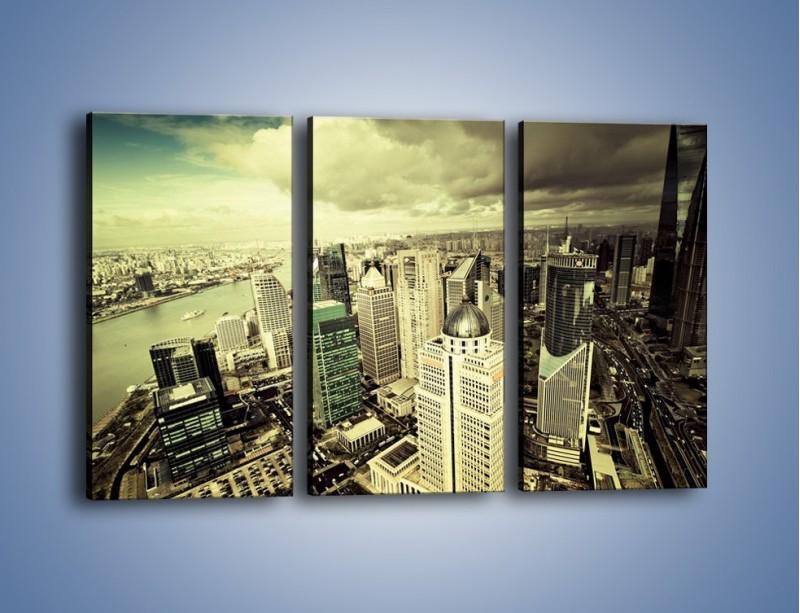 Obraz na płótnie – Ciemne chmury nad miastem – trzyczęściowy AM130W2