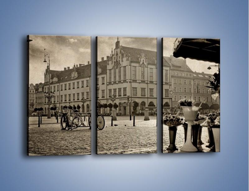Obraz na płótnie – Rynek Starego Miasta w stylu vintage – trzyczęściowy AM138W2