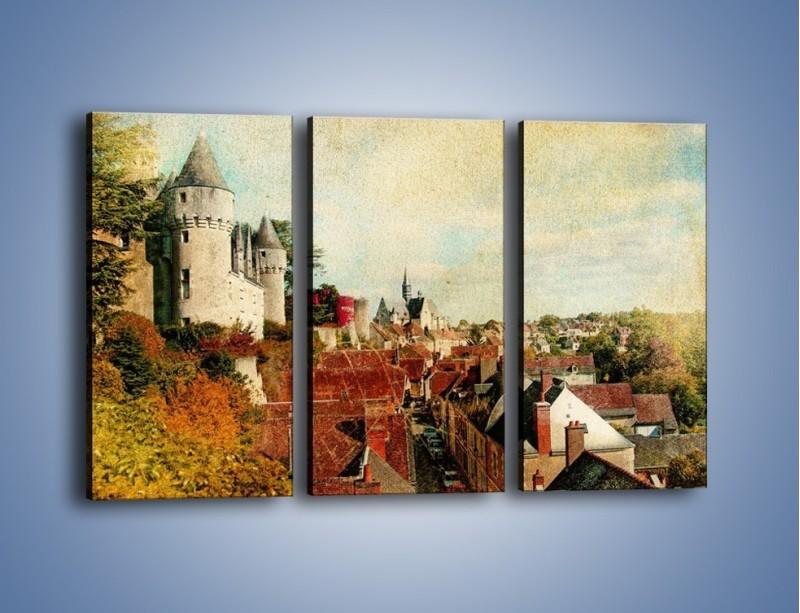 Obraz na płótnie – Zamek nad miasteczkiem w stylu vintage – trzyczęściowy AM142W2
