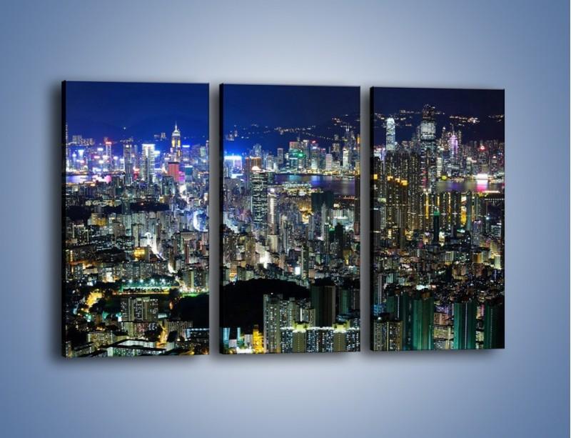 Obraz na płótnie – Nocne światła w dużym mieście – trzyczęściowy AM144W2