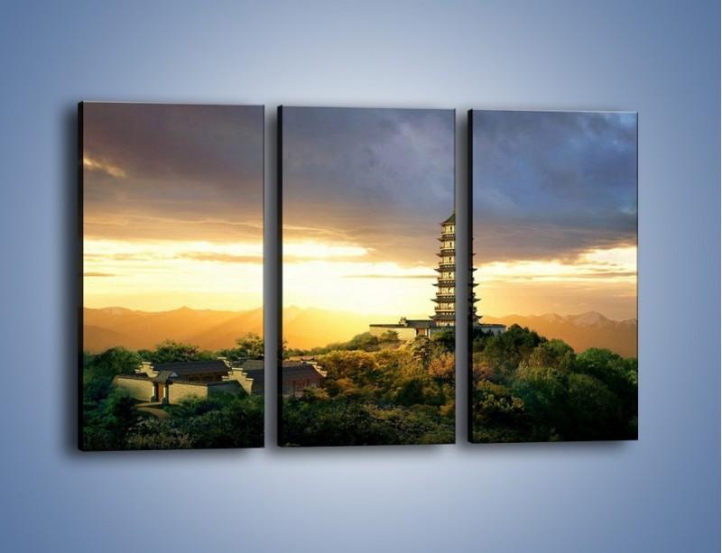 Obraz na płótnie – Azjatycka architektura o poranku – trzyczęściowy AM151W2