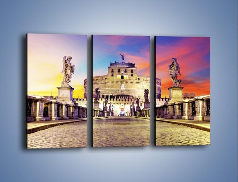 Obraz na płótnie – Zamek św. Anioła na tle kolorowego nieba – trzyczęściowy AM156W2