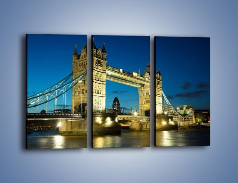 Obraz na płótnie – Tower Bridge wieczorową porą – trzyczęściowy AM159W2