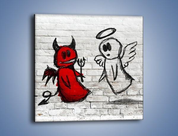 Obraz na płótnie – Rozmowa świętego z diabłem – jednoczęściowy kwadratowy GR235