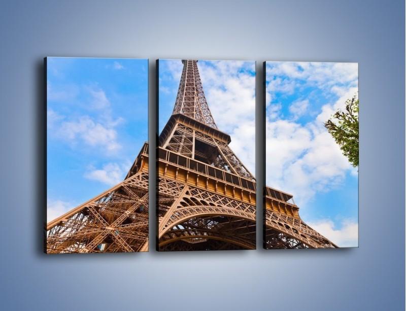 Obraz na płótnie – Wieża Eiffla pod chmurkami – trzyczęściowy AM173W2