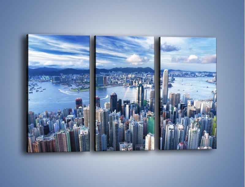 Obraz na płótnie – Miasto portowe pod błękitnym niebem – trzyczęściowy AM187W2