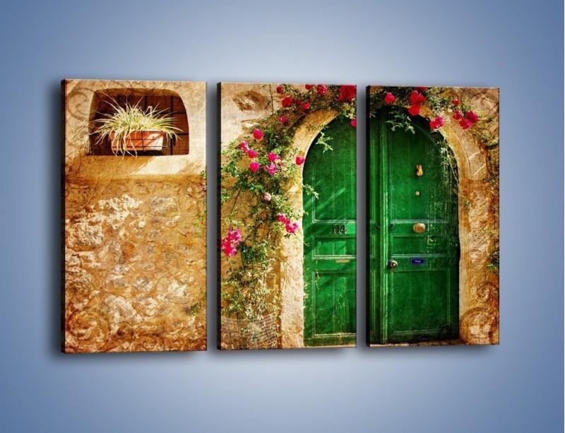 Obraz na płótnie – Drzwi w greckim domu vintage – trzyczęściowy AM192W2