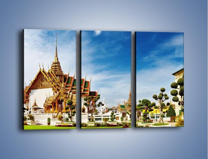 Obraz na płótnie – Tajska architektura pod błękitnym niebem – trzyczęściowy AM197W2