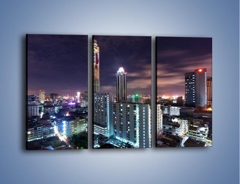 Obraz na płótnie – Duże miasto nocą – trzyczęściowy AM202W2