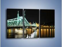 Obraz na płótnie – Oświetlony most w nocy – trzyczęściowy AM208W2