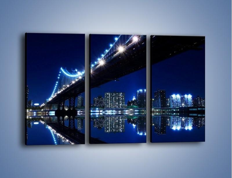 Obraz na płótnie – Oświetlony most w odbiciu wody – trzyczęściowy AM211W2