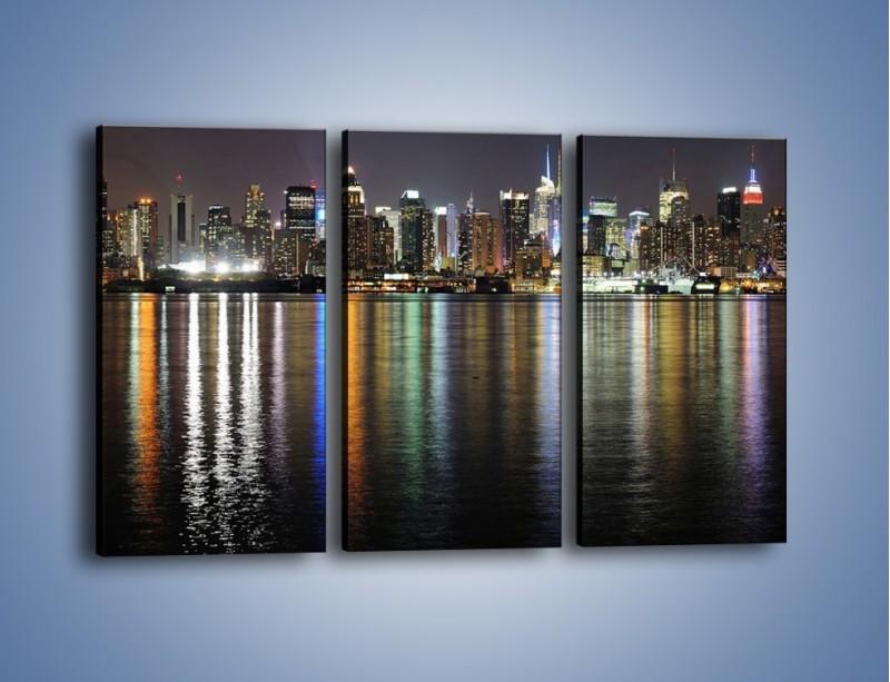 Obraz na płótnie – Światła miasta w lustrzanym odbiciu wody – trzyczęściowy AM222W2