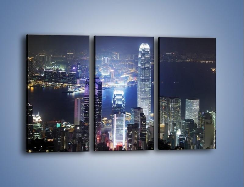 Obraz na płótnie – Miasto oświetlone nocą – trzyczęściowy AM223W2