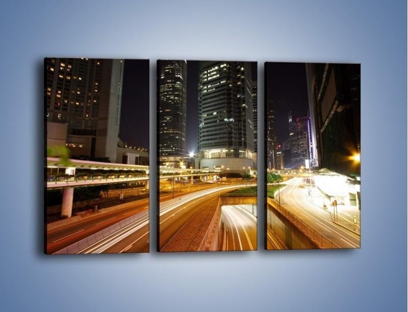 Obraz na płótnie – Miasto w nocnym ruchu ulicznym – trzyczęściowy AM225W2