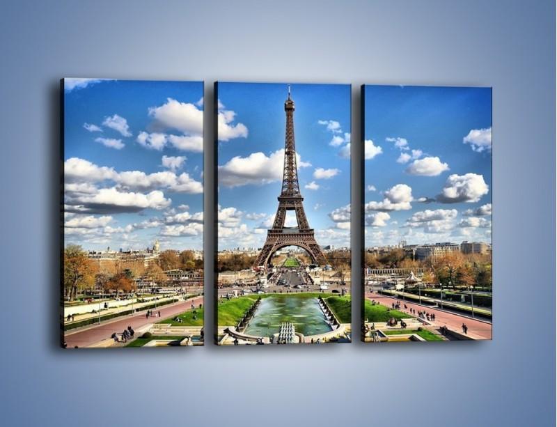 Obraz na płótnie – Wieża Eiffla w pochmurny dzień – trzyczęściowy AM227W2