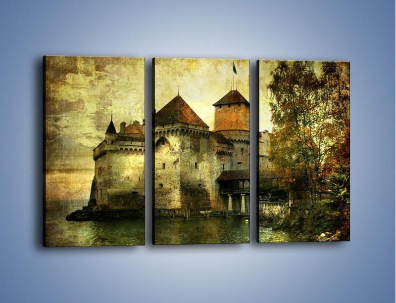 Obraz na płótnie – Średniowieczny zamek w stylu vintage – trzyczęściowy AM233W2