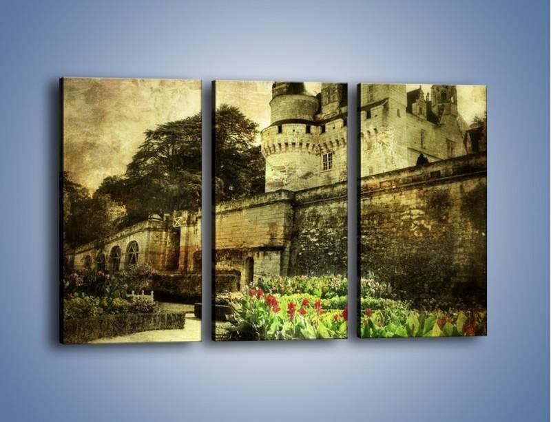 Obraz na płótnie – Zamek w stylu vintage – trzyczęściowy AM234W2