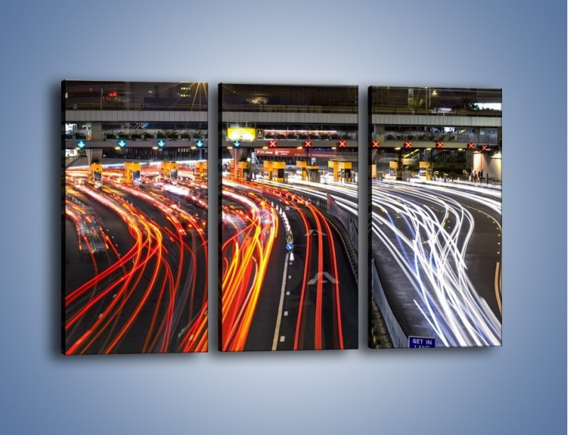 Obraz na płótnie – Autostradowa bramka w ruchu świateł – trzyczęściowy AM236W2