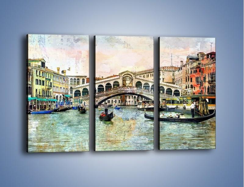 Obraz na płótnie – Wenecja w stylu vintage – trzyczęściowy AM239W2