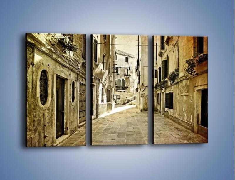 Obraz na płótnie – Stara uliczka w stylu vintage – trzyczęściowy AM243W2
