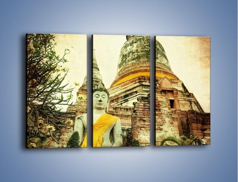 Obraz na płótnie – Tybetańska architektura w stylu vintage – trzyczęściowy AM247W2